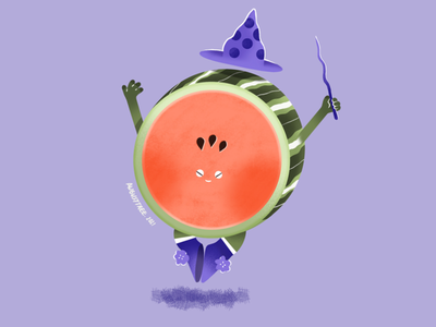 Watermelon green purple procreate ipadpro fruit watermelon flat cute design character illustration