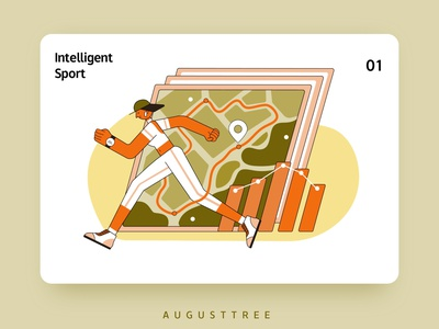 Intelligent Life 01 Sport graphicdesign lineart sport orange pink yellow ai illustrator vector green flat design character illustration