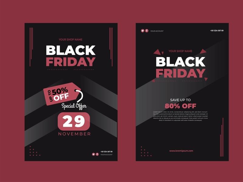 Flat design black friday flyer template black friday fashion web ui branding vector typography illustration design