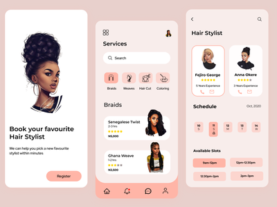 Hair App minimal app ui design