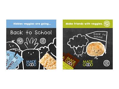 MadeGood social posts for Back to School cute food illustration kids branding organic food cereal food ad