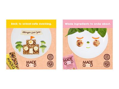 Madegood social graphics for school lunches photo manipulation food photography cute food illustration kids branding snacks cereal organic food food branding