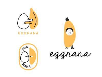 Eggnana logo concepts cute logo cartoon logo podcast art podcast logo illustration logo