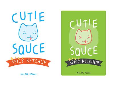 Cutie Sauce ketchup hot sauce animal cat cute cartoon branding label bottle sauce food