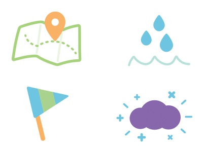 outdoorsy icons outdoor expedition adventure geography weather camping icons vector minimalist
