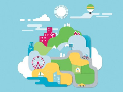 floating city clouds culture rural urban rounded round minimalist shadow cutout city illustration