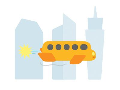 The future education children kids cartoon futuristic future school bus simple illustration vector school
