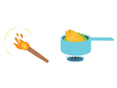 Technology: food children kids cartoon icon flame prehistoric wood technology fire cooking fish food