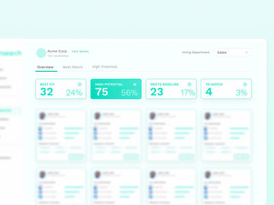 Summary Cards [Tellnsearch Predictive Hiring] cards ui app web dashboard design ux ui