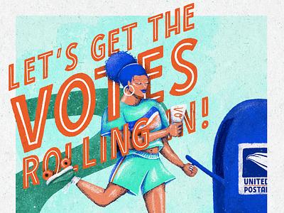 Go Vote! procreate vote2020 usps vote vibrant color textures limited palette ipadproart illustration design art