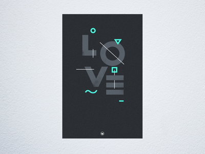 Geometric Love geometric typography type poster print love shapes bold minimal lettering product