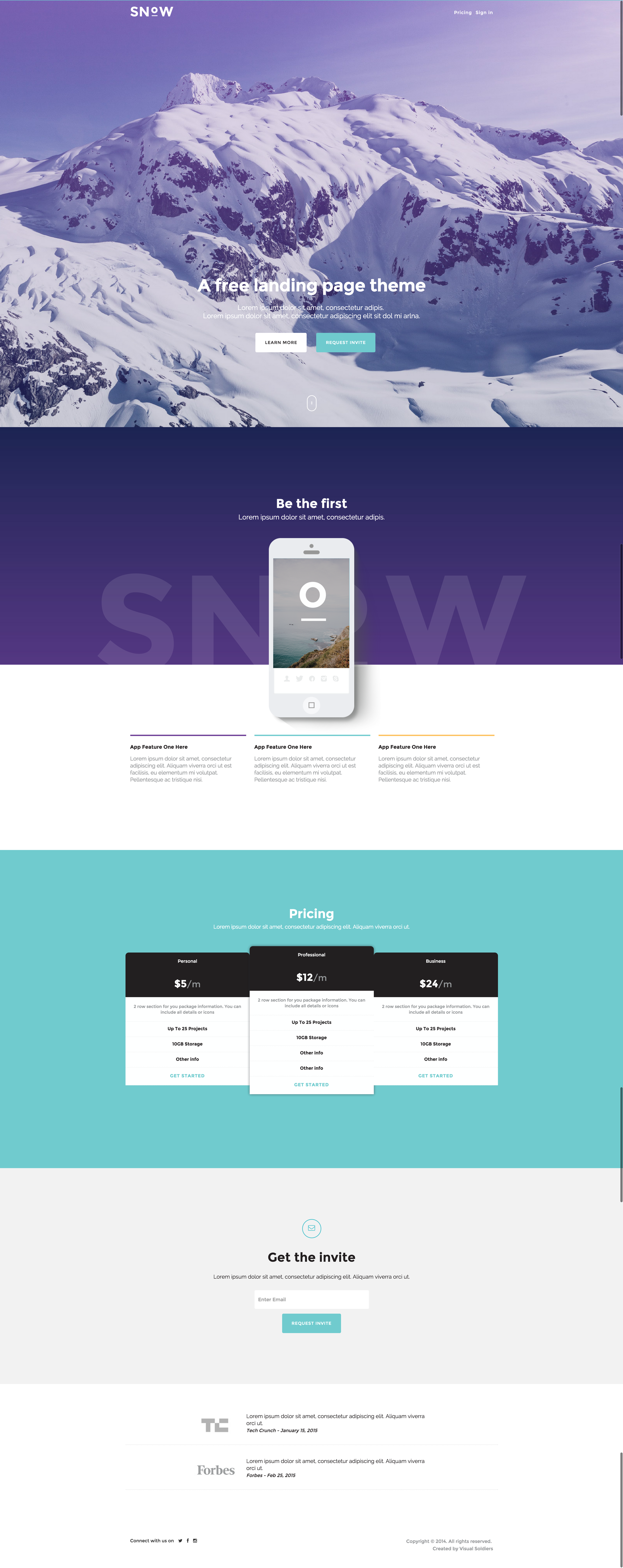 Snow landing page theme   created by visual soldiers