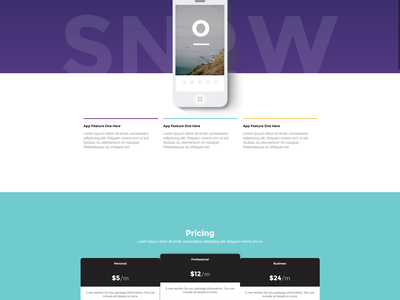 Snow - A Free Bootstrap Landing Page website app ui template html bootstrap theme mobile download freebie free