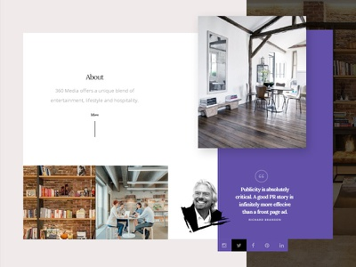 360 Media web design web ui design ui purple public relations pr minimal flat elegant dark clean