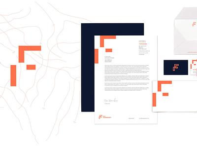 FLS Brand Identity Package trucking business cards letterhead brand assets typography mark orange geometic atlanta brand design branding corporate branding corporate identity