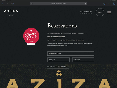 Aziza Website Experience motion parallax ui  ux typography restaurant design atlanta arabic modern restaurant website restaurant