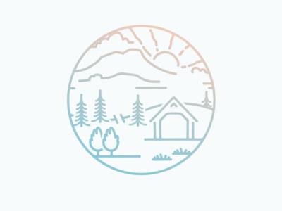 Mad River Valley Badge illustration flat icon logo design
