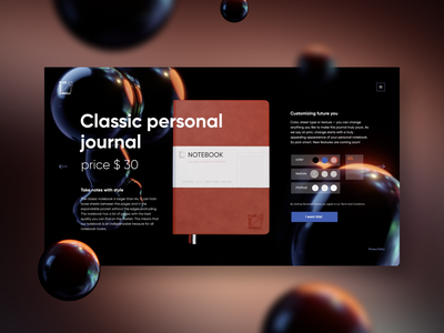 Personal Journal Product Page ux blender 3d art ui uiux design uidesign 3d interfaсe digitaldesign klad