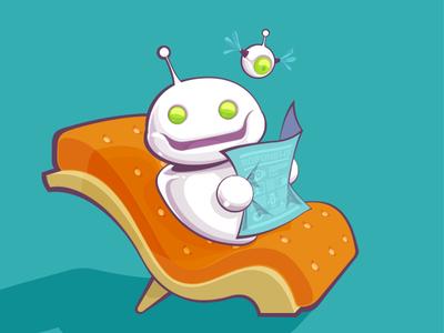Chillbot robot newspaper sofa chilling