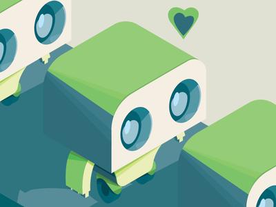 Production Line vector illustration heart robot production