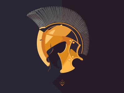 Spartan logo flat vector illustration helmet helm spartan