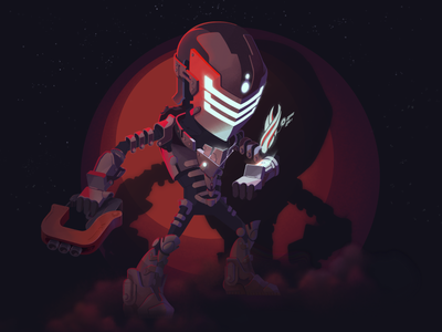 Isaac fog space hologram gun dead space illustration character