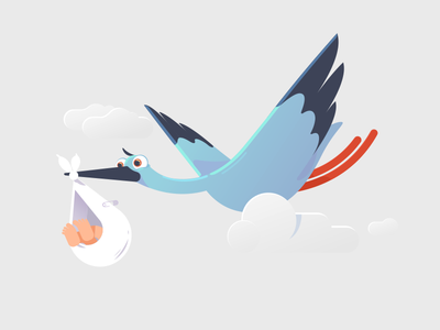 New Delivery illlustration character animal cloud delivery baby stork