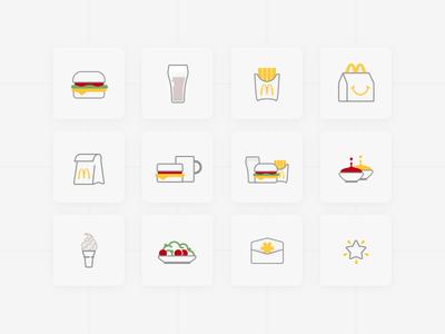 McD Icons web design illustration icon sauce french fries fast food burger mcdonalds