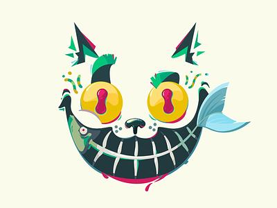 Smile! smile vector illustration crazy fishbone fish cat