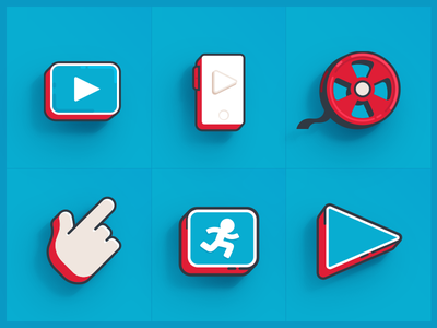 3d Flat Icons animation video icon flat 3d