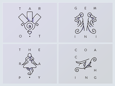 Line icons theraphy tarot coaching icons iconset astronomy astrology