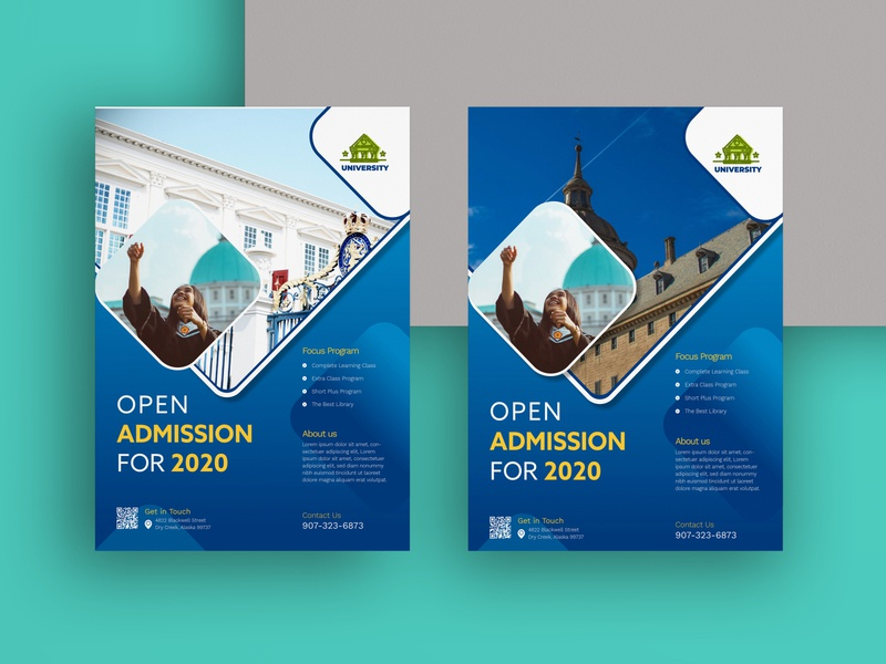 Flyers Template blue admission university branding illustration flyer template flyer artwork flyer design flyer flyers
