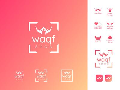 Waqf shop logo happy mosque love human negative space logo negative space corporate pink shopping organization charity warm gradient concept graphic design branding design logo inspiration logo minimal