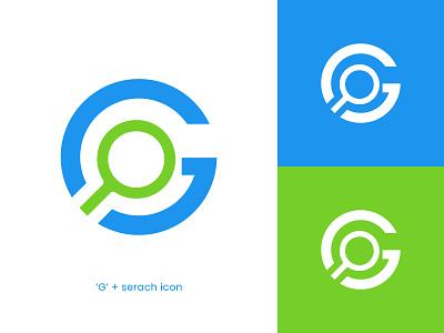 G + search icon white space modern professional corporate unique creative concept lettermark branding graphic design ui illustration design logomaker logo inspiration logo designer logo design logocreator logo minimal