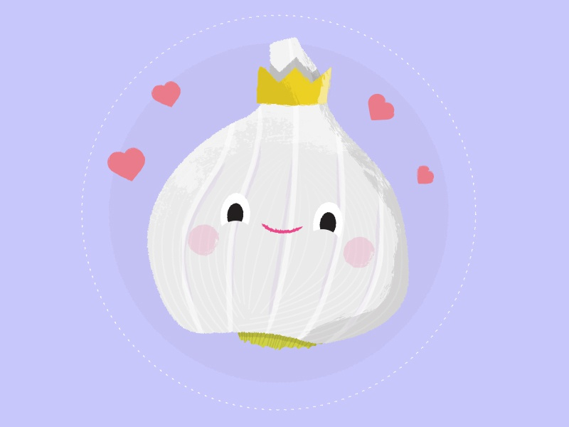 Garlic Love smell heart color happy smile rough texture veg garlic cute design character