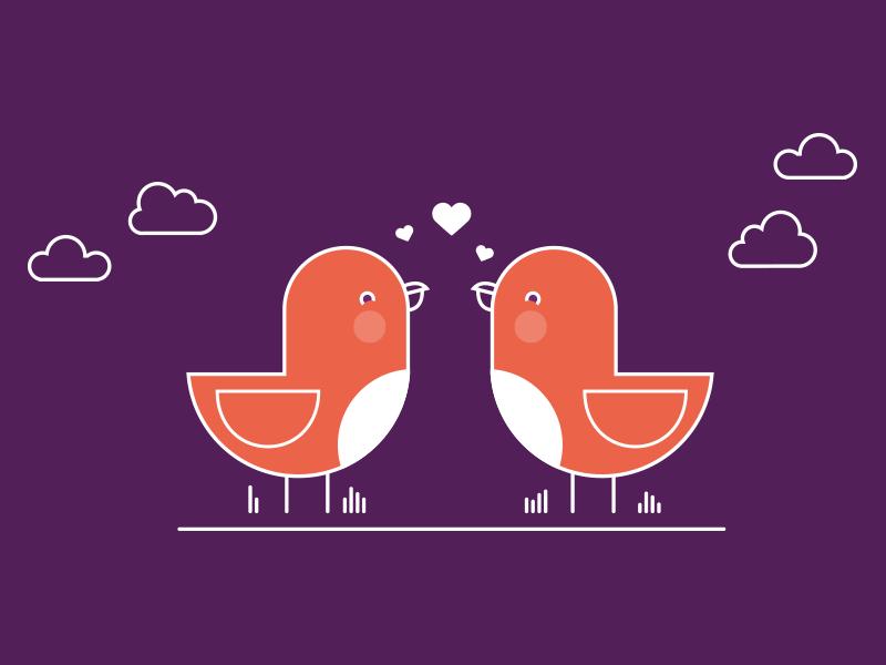 Love birds cute line birds colour shape vector character