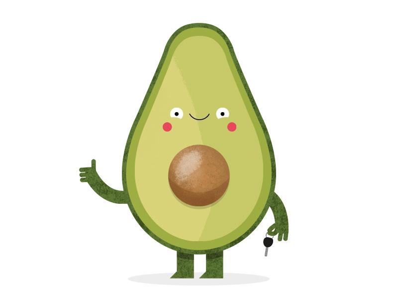 Avocado colour clean vector texture happy. fun smile cute fruit avocado