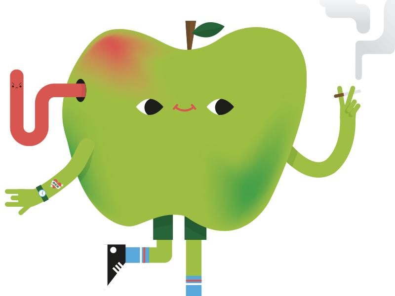 Bad apple worm tattoo converse socks skater poison bad naughty cute fruit apple