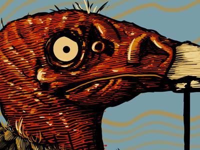 Wide Eyed illustration line weight sun desert vulture buzzard