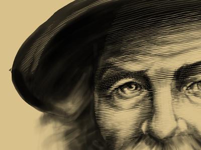 Walt Wip portrait leaves of grass line weight