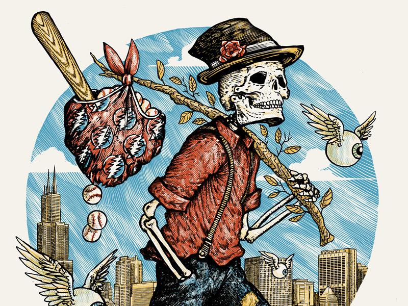 Dead & Company - Chicago field wrigley chicago eyeball dead grateful skeleton screenprint travel vegabond