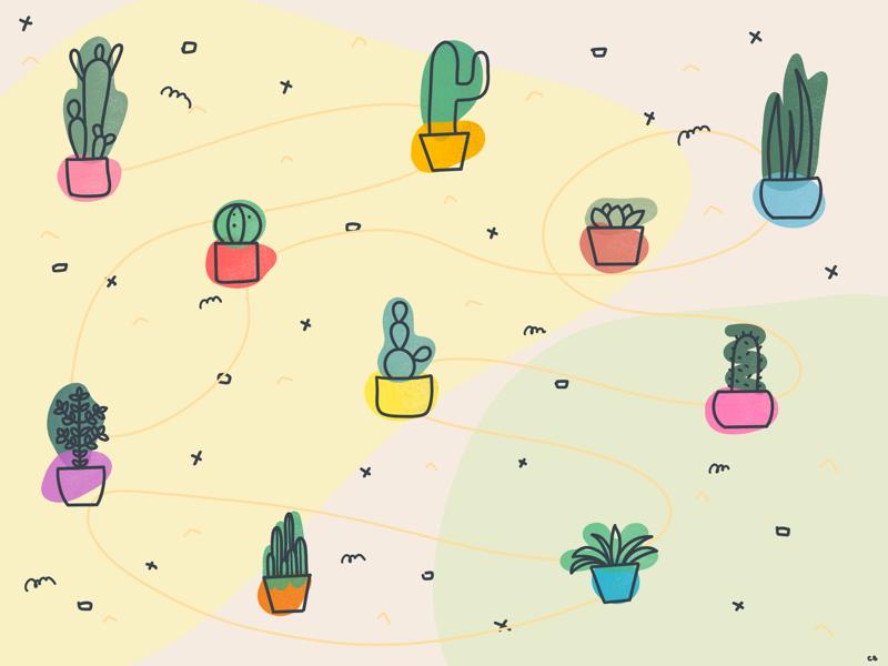 Cactuses blob blobs pattern cactuses procreate ipad drawing texture illustration doodle doodles plant cactus