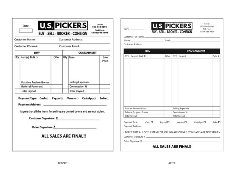 """U.S. Pickers"" Form Recreation recreation layout design"