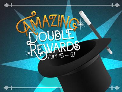 Amazing Double Rewards marketing campaign illustration circus wand magic magician amazing