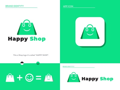 Happy Shop Modern logo design with modern Icon green shop logo online shopping online shop shop branding brand identity awesome modern logo logo awesome design new modern icon icon design shop logo shopping branding brand abstract app design app