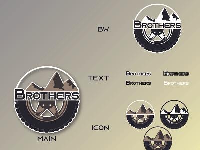 Brothers Wheel and Tire vector branding logodesign icon logo design trucks tire shop tire logo