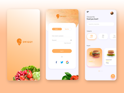 Food App UI logo typography app design ux ui illustration
