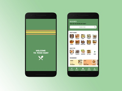 FOOD HUNT food illustration logo app typogaphy design app app designer uxdesign food app app design ui