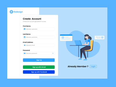 UI Design Create Account Page web ui design ui design web design