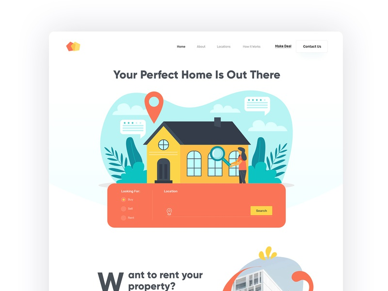Real State Home Page property search realestate real state branding discover creative designers colorful neat and clean design website modern interface